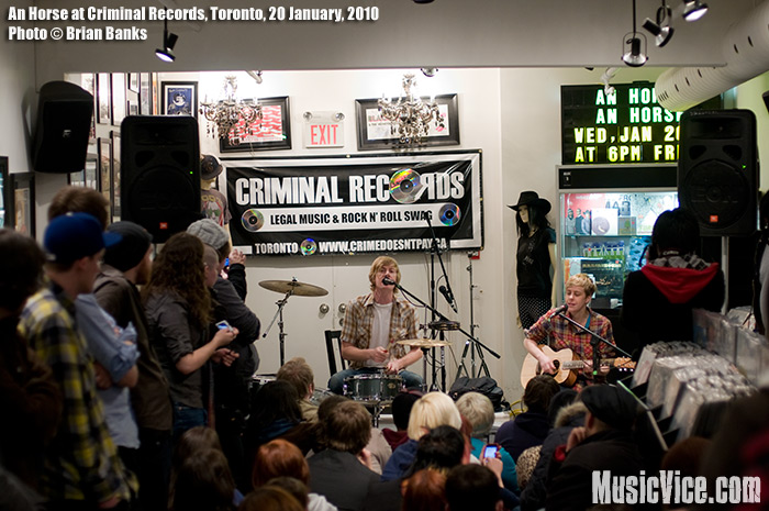An Horse's in-store appearance at Criminal Records, Toronto, 20 January 2010 - photo by Brian Banks, Music Vice