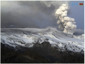 The Eyjafjallajökull volcano - screen capture taken from the volcano webcam