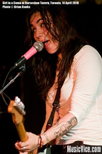 Nina Diaz of Girl in a Coma playing at Horseshoe Tavern, Toronto - photo by Brian Banks, Music Vice