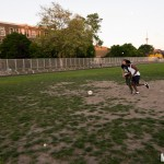 Music Vice editor Brian Banks playing football in training for the NXNE charity soccer match
