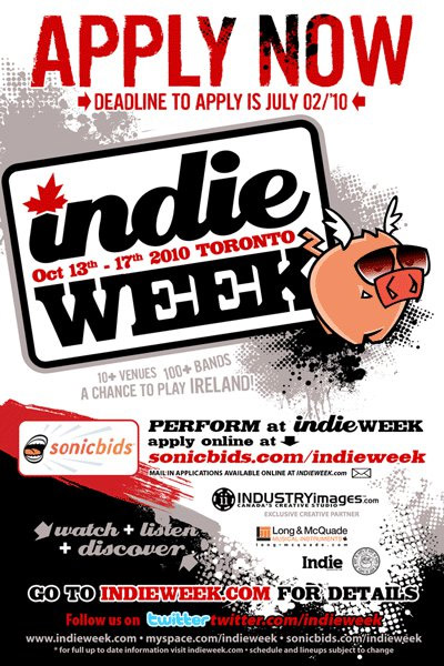 Indie Week 2010 artist application promotional poster
