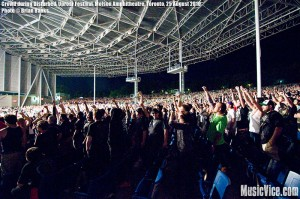 Crowd at Molson Amphitheatre raising their fists for Disturbed during Rockstar Uproar Festival, Toronto, 25 August 2010 - photo by Brian Banks, Music Vice