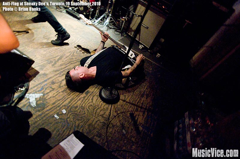 Chris #2 of Anti-Flag at Sneaky Dee's, Toronto, 19 September 2010 - photo by Brian Banks, Music Vice, all rights reserved