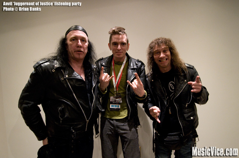 Anvil listening party - photo of Robb Reiner, Steve Kudlow and Brian Banks at Noble Street studios, Toronto