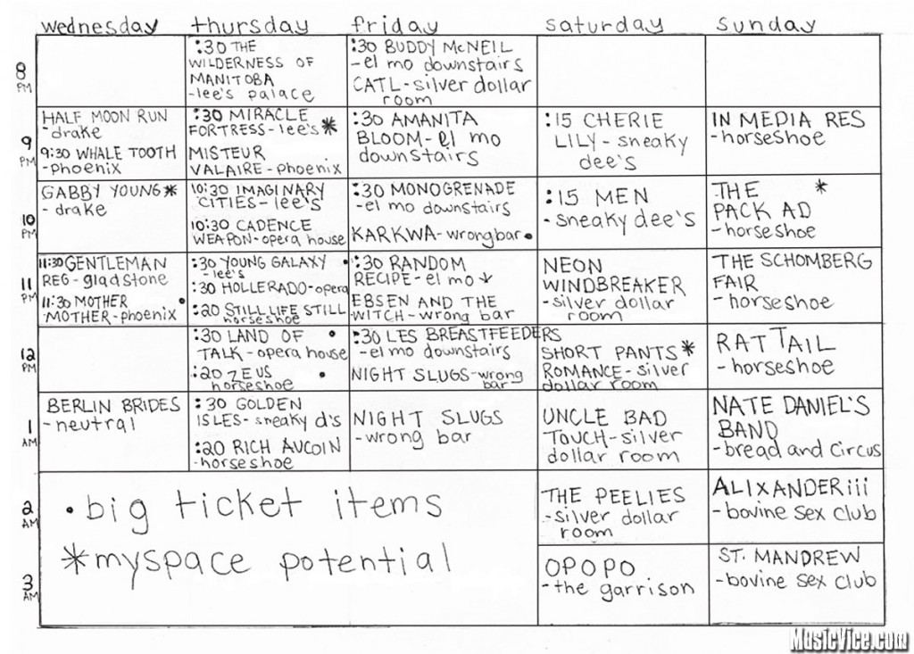 Canadian Music Week 2011 festival planner chart