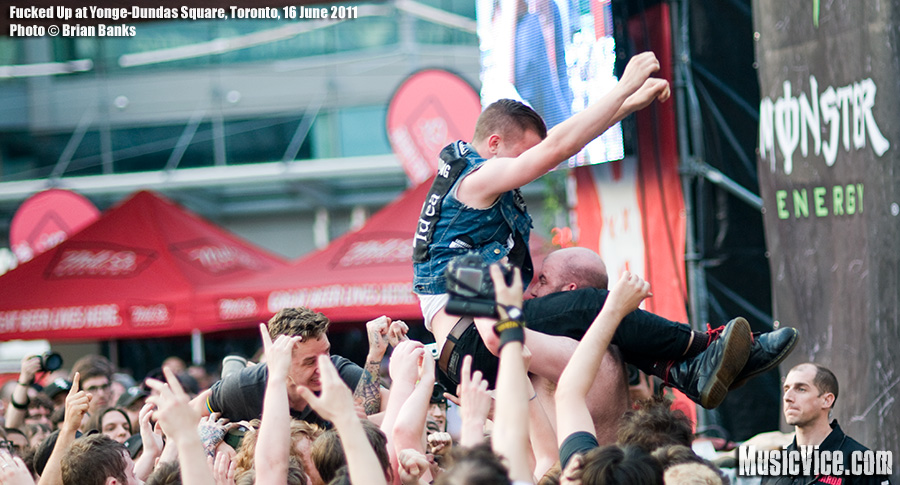 Fucked Up at Yonge-Dundas Square, Toronto, NXNE 2011 - photo by Brian Banks, Music Vice