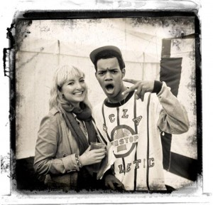 Harley of Rizzle Kicks rocks out with Music Vice reporter Ngawara Higher - photo Farid Singh