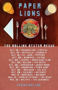 Paper Lions The Rolling Oyster Revue tour poster