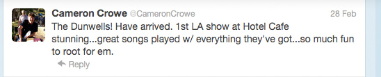 Cameron Crowe's tweet about The Dunwells