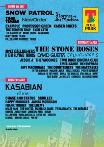 T in the Park 2012 line-up poster