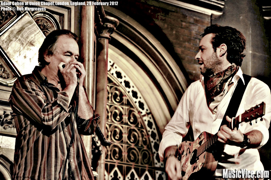 Adam Cohen with his manager Mike on harmonica, Union Chapel, London - photo by Rob Hargreaves, Music Vice