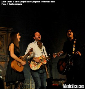 Adam Cohen with Mai Bloomfield and Michael Chaves at Union Chapel, London - photo by Rob Hargreaves, Music Vice
