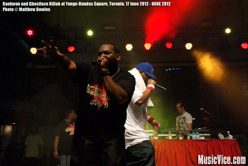 Raekwon and Ghostface Killah at Yonge-Dundas Square, Toronto, NXNE 2012 - photo Matthe Bowles, Music Vice