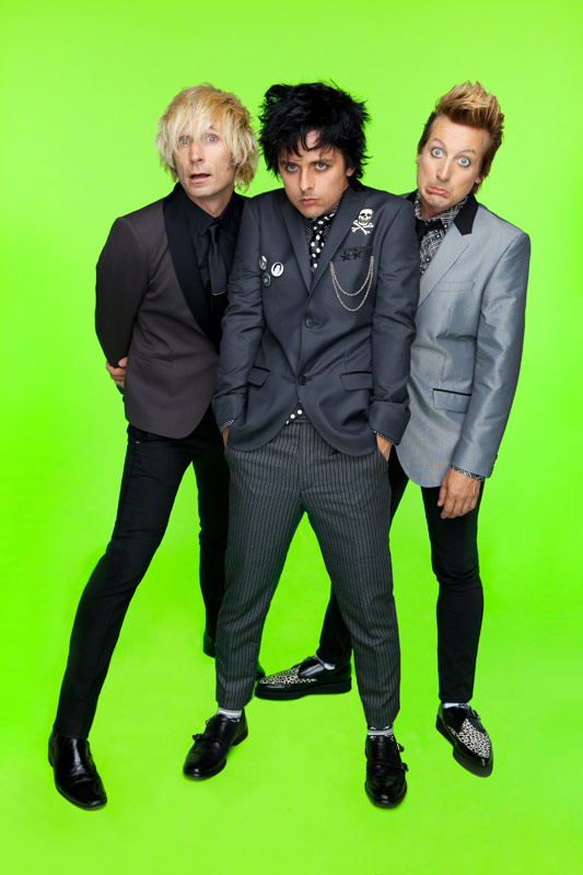 Green Day group photo, 2012; Mike Dirnt, Billie Joe Armstrong, Tre Cool