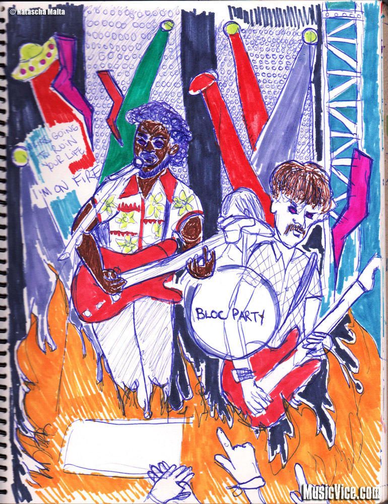 Field Trip sketchbook Bloc Party by Natascha Malta, MusicVice.com