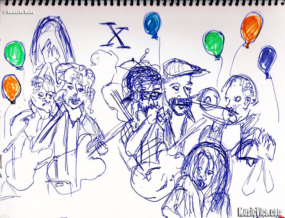 Field Trip sketchbook Broken Social Scene by Natascha Malta, MusicVice.com
