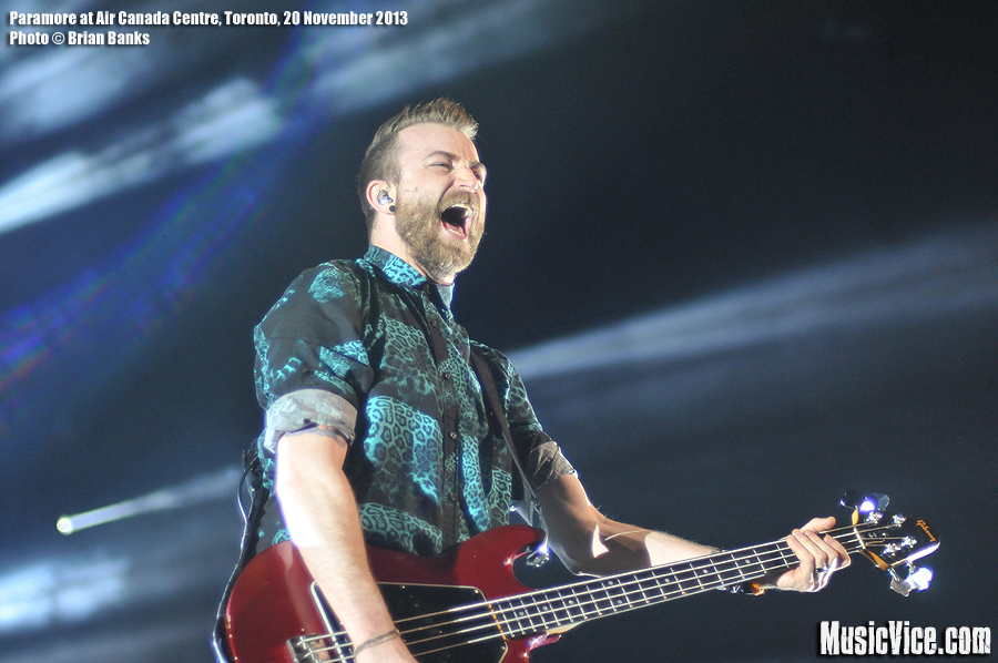 Paramore bass player Jeremy Davis on stage at Air Canada Centre, Toronto - photograph by Brian Banks, Music Vice Magazine
