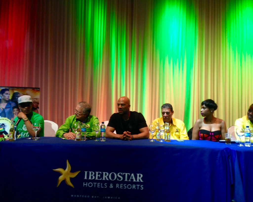 Common, T.I. and Jeniffer Hudson at the Reggae Sumfest Press conference, 17 July 2015 - photo Brian Banks