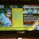 Radiohead Toronto cancelled - picture of Toronto subway station television monitor